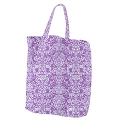 Damask2 White Marble & Purple Denim Giant Grocery Zipper Tote by trendistuff