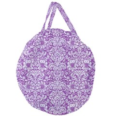 Damask2 White Marble & Purple Denim Giant Round Zipper Tote by trendistuff