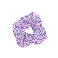 Damask2 White Marble & Purple Denim Velvet Scrunchie
