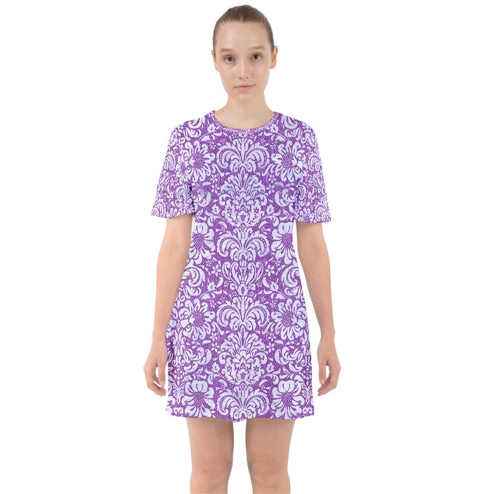 DAMASK2 WHITE MARBLE & PURPLE DENIM Sixties Short Sleeve Mini Dress