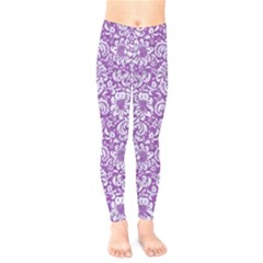 Damask2 White Marble & Purple Denim Kids  Legging
