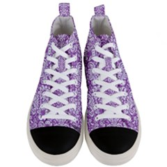 Damask2 White Marble & Purple Denim Men s Mid Top Canvas Sneakers
