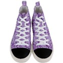 DAMASK2 WHITE MARBLE & PURPLE DENIM Men s Mid-Top Canvas Sneakers View1
