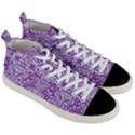 DAMASK2 WHITE MARBLE & PURPLE DENIM Men s Mid-Top Canvas Sneakers View3