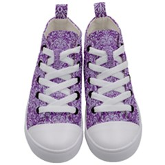 Damask2 White Marble & Purple Denim Kid s Mid Top Canvas Sneakers