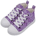 DAMASK2 WHITE MARBLE & PURPLE DENIM Kid s Mid-Top Canvas Sneakers View2