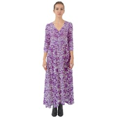 Damask2 White Marble & Purple Denim Button Up Boho Maxi Dress by trendistuff