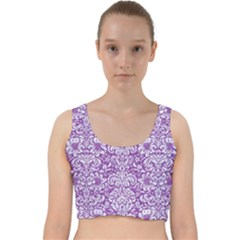 Damask2 White Marble & Purple Denim Velvet Racer Back Crop Top