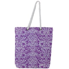 Damask2 White Marble & Purple Denim Full Print Rope Handle Tote (large) by trendistuff