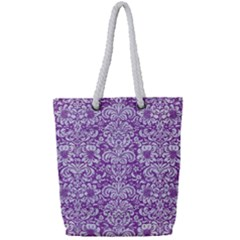 Damask2 White Marble & Purple Denim Full Print Rope Handle Tote (small) by trendistuff