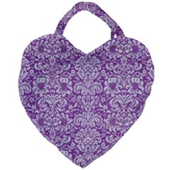 Damask2 White Marble & Purple Denim Giant Heart Shaped Tote by trendistuff