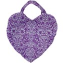 DAMASK2 WHITE MARBLE & PURPLE DENIM Giant Heart Shaped Tote View1