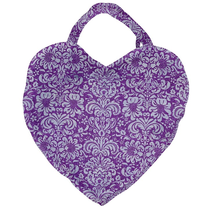 DAMASK2 WHITE MARBLE & PURPLE DENIM Giant Heart Shaped Tote