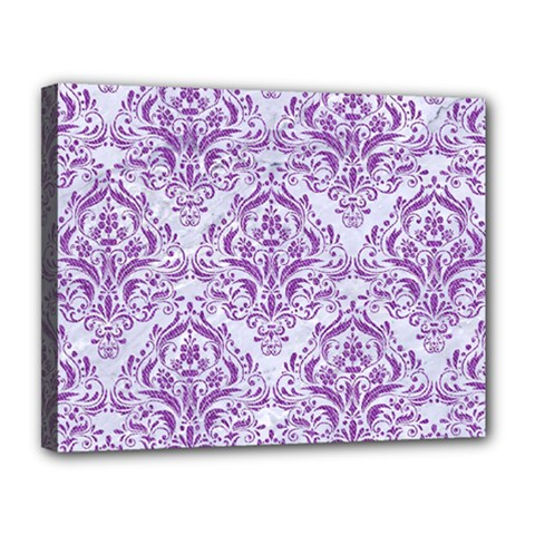 Damask1 White Marble & Purple Denim (r) Canvas 14  X 11  by trendistuff