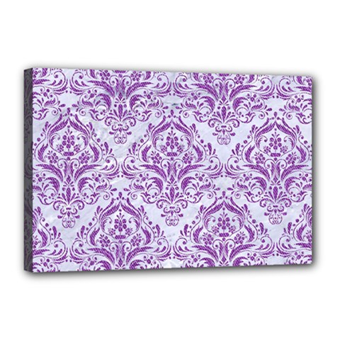 Damask1 White Marble & Purple Denim (r) Canvas 18  X 12