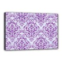 DAMASK1 WHITE MARBLE & PURPLE DENIM (R) Canvas 18  x 12  View1