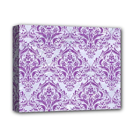 DAMASK1 WHITE MARBLE & PURPLE DENIM (R) Deluxe Canvas 14  x 11
