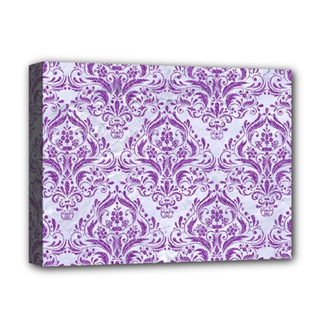 DAMASK1 WHITE MARBLE & PURPLE DENIM (R) Deluxe Canvas 16  x 12