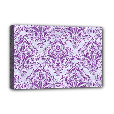 DAMASK1 WHITE MARBLE & PURPLE DENIM (R) Deluxe Canvas 18  x 12