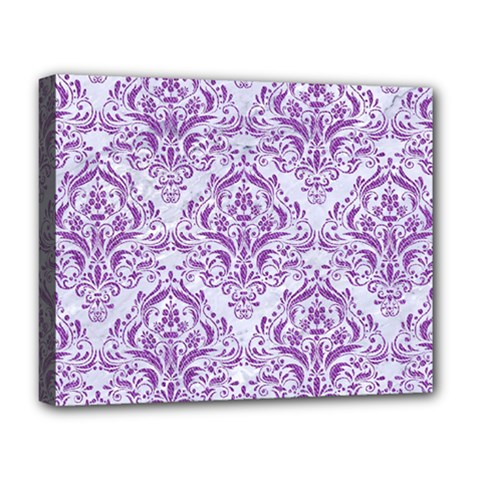 Damask1 White Marble & Purple Denim (r) Deluxe Canvas 20  X 16