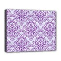 DAMASK1 WHITE MARBLE & PURPLE DENIM (R) Deluxe Canvas 20  x 16   View1