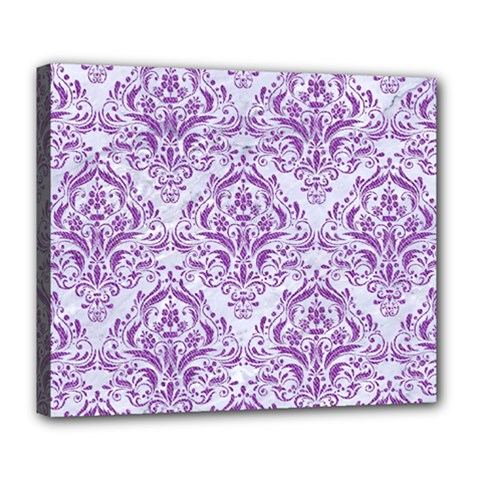 DAMASK1 WHITE MARBLE & PURPLE DENIM (R) Deluxe Canvas 24  x 20