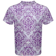 Damask1 White Marble & Purple Denim (r) Men s Cotton Tee