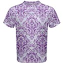 DAMASK1 WHITE MARBLE & PURPLE DENIM (R) Men s Cotton Tee View1