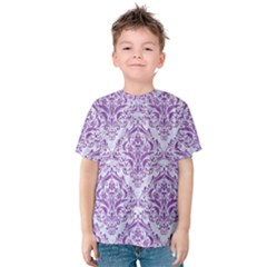 Damask1 White Marble & Purple Denim (r) Kids  Cotton Tee by trendistuff
