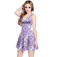 Damask1 White Marble & Purple Denim (r) Reversible Sleeveless Dress by trendistuff