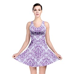 Damask1 White Marble & Purple Denim (r) Reversible Skater Dress by trendistuff