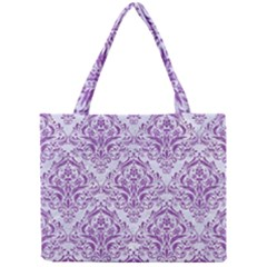 Damask1 White Marble & Purple Denim (r) Mini Tote Bag by trendistuff