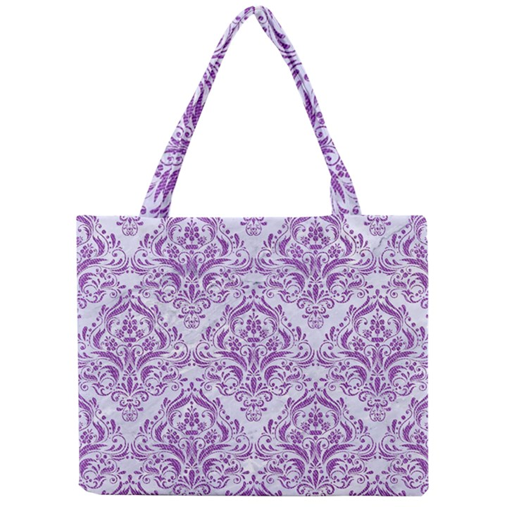 DAMASK1 WHITE MARBLE & PURPLE DENIM (R) Mini Tote Bag