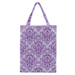 DAMASK1 WHITE MARBLE & PURPLE DENIM (R) Classic Tote Bag