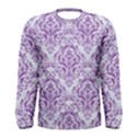 DAMASK1 WHITE MARBLE & PURPLE DENIM (R) Men s Long Sleeve Tee View1