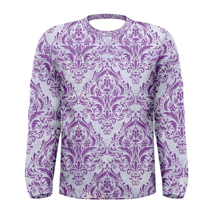 DAMASK1 WHITE MARBLE & PURPLE DENIM (R) Men s Long Sleeve Tee