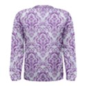DAMASK1 WHITE MARBLE & PURPLE DENIM (R) Men s Long Sleeve Tee View2