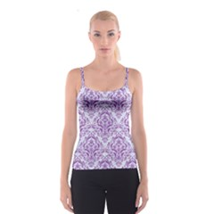 Damask1 White Marble & Purple Denim (r) Spaghetti Strap Top by trendistuff