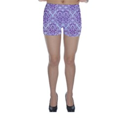 Damask1 White Marble & Purple Denim (r) Skinny Shorts by trendistuff