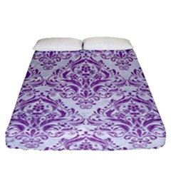 DAMASK1 WHITE MARBLE & PURPLE DENIM (R) Fitted Sheet (Queen Size)