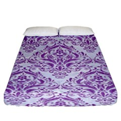 DAMASK1 WHITE MARBLE & PURPLE DENIM (R) Fitted Sheet (King Size)