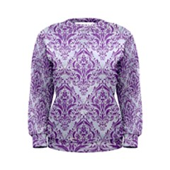 Damask1 White Marble & Purple Denim (r) Women s Sweatshirt