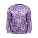 DAMASK1 WHITE MARBLE & PURPLE DENIM (R) Women s Sweatshirt View1