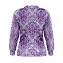 DAMASK1 WHITE MARBLE & PURPLE DENIM (R) Women s Sweatshirt View2