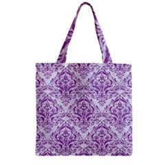 DAMASK1 WHITE MARBLE & PURPLE DENIM (R) Zipper Grocery Tote Bag