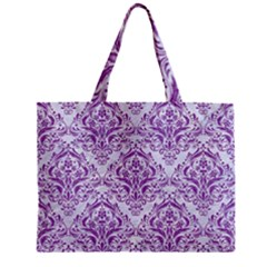 Damask1 White Marble & Purple Denim (r) Zipper Mini Tote Bag by trendistuff