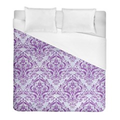 Damask1 White Marble & Purple Denim (r) Duvet Cover (full/ Double Size)