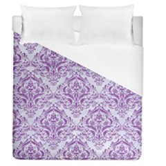 DAMASK1 WHITE MARBLE & PURPLE DENIM (R) Duvet Cover (Queen Size)