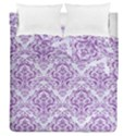 DAMASK1 WHITE MARBLE & PURPLE DENIM (R) Duvet Cover Double Side (Queen Size) View1