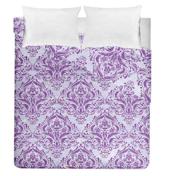 DAMASK1 WHITE MARBLE & PURPLE DENIM (R) Duvet Cover Double Side (Queen Size)
